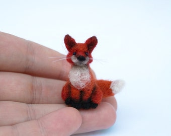 Miniature needle felted fox