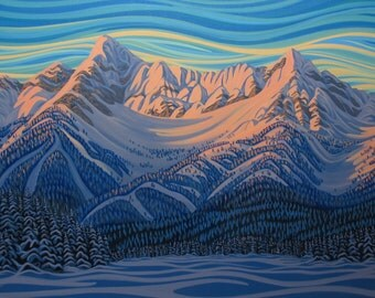 """Deep Freeze, Elk River, 12""""X22"""", Print on Canvas, Canadian Artist, Ready to Hang, Gallery Canvas"""