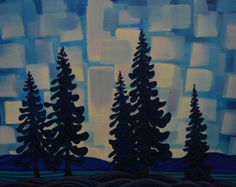 Dusk In Foothills, 18x24, Original Painting, Canadian Artist, Ready to Hang, Gallery Canvas