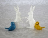 Mini Bunny Bunnies Birds Cup Cake Toppers /  Miniature Plastic Bunnies Bunny Bird Craft Pieces Dollhouse Diorama Supply  /   Holiday Crafts