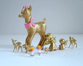 Vintage Mini Reindeer and Angels in Gold, Upscycled Vintage Miniatures, Diorama Putz House Glitter House Supplies, Gold Christmas Miniatures