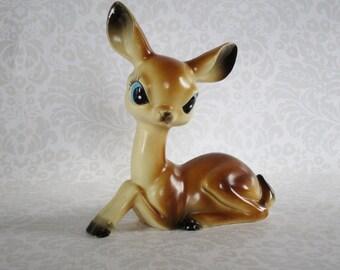 Vintage Plastic Reindeer Bambi Fawn Deer made in Hong Kong c. 1950s  /  Kitsch Retro Plastic Reindeer Holiday Reindeer Decor