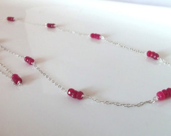 Ruby Gemstone Natural Handmade Long Necklace Wire Wrapped with Sterling Silver