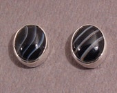 Banded Black Agate and Sterling Silver Stud Earrings