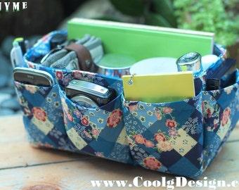 Purse organizer insert, handbag Bag Organizer Extra Sturdy / Blue Floral / Medium
