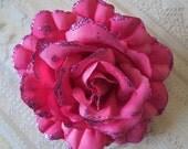 Flamenco Dark Fuchsia with glitter Rose Hair Flower clip