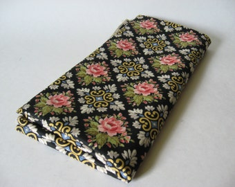 Lovely vintage floral trellis rose serged panel canvas upholstery fabric white pink blue on black