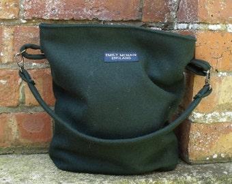 Martha Handbag in Rifle Green Pilot Cloth Tote Bucket Shoulder Bag Ready to Ship