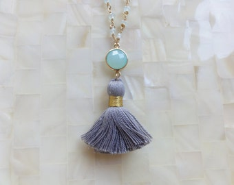 Blue Chalcedony Vermeil Bezel Connector and Gray Tassel on Aquamarine Quartz Rondelle Vermeil Wire Wrapped Chain Necklace (N1721)