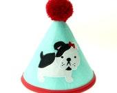 Red & Aqua French Bulldog   Fabric Birthday Hat