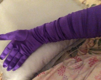 Satin gloves ruched long elbow length purple one size fits most