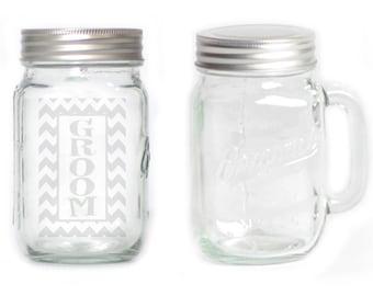 Mason Jar  Mug - 15 oz. small  2675 Groom Chevron