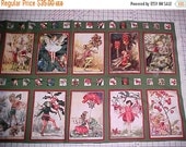 Christmas Flower Fairies Fabric Quilt Block Post Card Squares Cotton Panel Cicely Mary Barker 2008 Miller