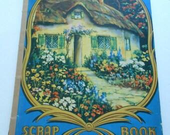 vintage newsprint scrapbook cottage cover