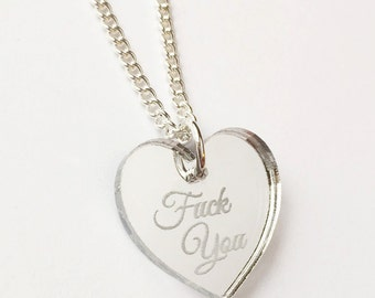 F-ck You Necklace - Silver Heart