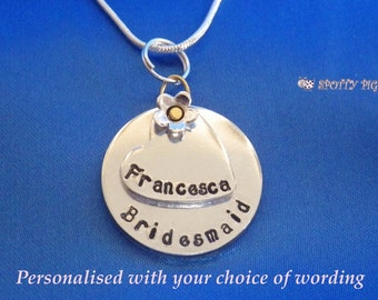 4 FOR PRICE OF 3!! Personalised Name Bridesmaid Necklace Gift, Present for Wedding