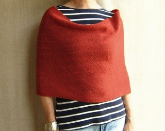 4-way knit wrap infinity scarf cowl snood in brick red