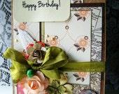 RESERVED for D Birthday card, Elegant handmade Birthday card, Happy Birthday to you, Garden inspired map card, Embellished birthday card