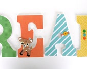 Deer Custom Wood Letter Set, Nursery Name Décor, Unisex Bedroom, Personalized Wall Decorations, Woodland Creature Baby Shower