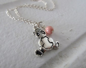 Panda Necklace- Panda Charm with an accent bead in your choice of colors