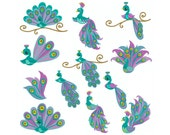 PEACOCK 1 - Machine Filled Embroidery - Instant Digital Download