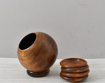 SALE / vintage wooden sphere orb container / holder / office pencil storage