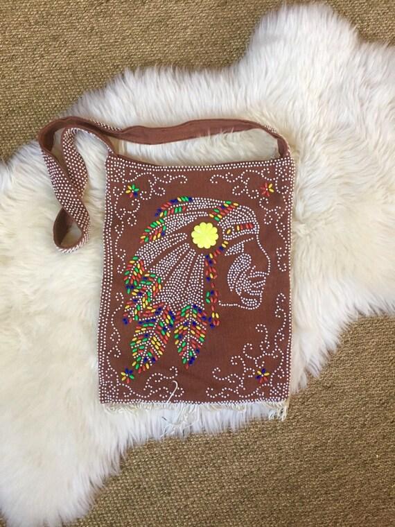 emson style native american beaded arm shoulder bag // tribal boho purse
