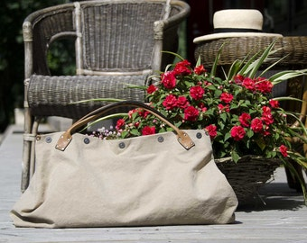 Sand and Sea WEEKENDER 2 - - Summer OWERNIGHT BAG from canvas and leather