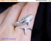 SALE Sterling Silver Whale Ring Size Adjustable 5.5-10