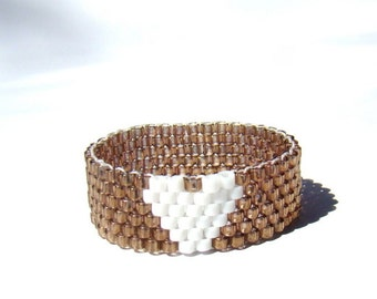 White and copper heart ring, Matching friendship rings, Peyote seed bead jewelry