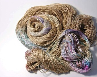 Pure Silk FINGERING in Golden Rainbow - One of a Kind
