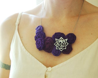 Rosette Bib Necklace - Purple and Silver - Recycled T-Shirts - Vintage Brooch