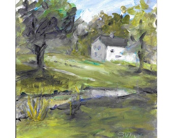 Original impressionistic landscape acrylic painting 10x8 Waterloo villlage historic house