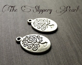 Tree of Life Charms Pendants Oval Tree Charms Antiqued Silver Stamped Tree Charms Double Sided 10 pieces