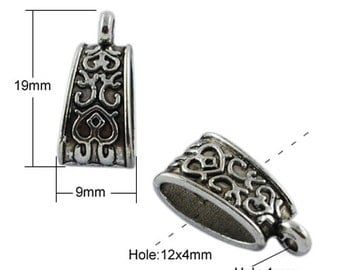Hang Bails Antiqued Silver 19mm Bails for Charms and Pendants 10 pieces Ornate