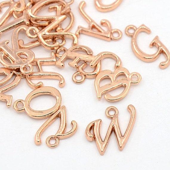 Alphabet charms pendants rose gold letter charms initial for Rose gold letter charms