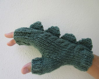 Dragon, dinosaur, monster green  fingerless mittens gloves,  wool and alpaca,medium female adult's size