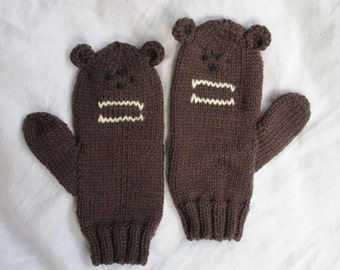 Grizzly brown bear animal mittens for mediium female adult. Pure Australian wool.Turn your hands from brrrr to grrrr