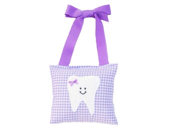 Tooth Fairy Pillow Girls Tooth Fairy Gift Personalized Tooth Fairy Pillow Personalized Kids Tooth Fairy Pouch in Lilac Gingham Print