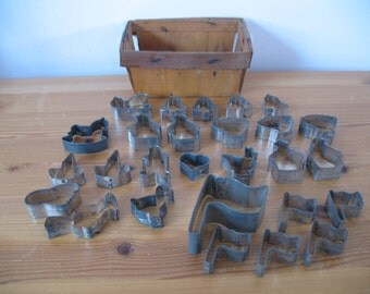 Vintage Basket Full of Cookie Cutters, 27 tiny metal, many shapes