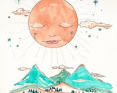 Reserved for Maytha, Original Illustration, Full Moon or Sun Montana Landscape, Tipi's, Cabins, OOAK
