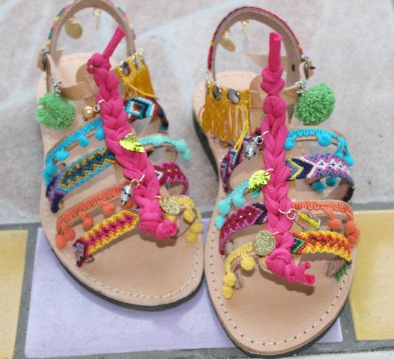 Boho Sandals/Pompom sandals/Friendship sandals/Pompom gladiator
