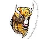 Behemoth, Poetry, Bison Art, fantasy, hippy
