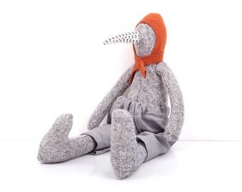 Stuffed animal  , Plush bird doll , Fabric Duck doll , Soft plush Geese , Plushie Softie doll , knitted silk rag doll , Handmade decor doll