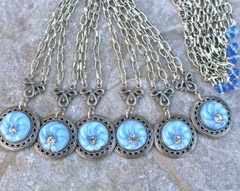 Bridesmaid Necklace Gift Set, Multiples, Vintage, Rhinestone, Silver, 16 inch, Sky Blue, Vintage Glass Button, Bulk Discount, Jennifer Jones