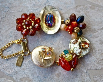 Vintage Earring Bracelet, Bridesmaid Gift, Copper, Rust, Gold,Topaz, Jewel, Boho, Upcycled, Under 40, Flower, Jennifer Jones, Amber Garden