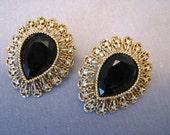 Vintage CRAFT Signed Earrings - Large Black Rhinestone Filigree Earrings