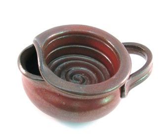 Shaving Scuttle - Handmade Pottery - Shave Mug - Pottersong - Lather Bowl - Comfort Hot Wet Shave - Rustic Rust Red
