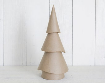Paper Mache Christmas Tree - 14 Inch Wavy Whimsy Cone Tree