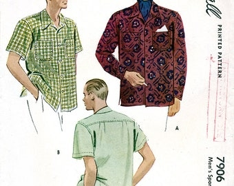 McCall 7906 Vintage 40s Sewing Pattern for Men's Sports Shirt - Uncut - Size Large 16-16.5
